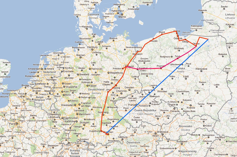 Radtour 2011 Masuren Karte 1