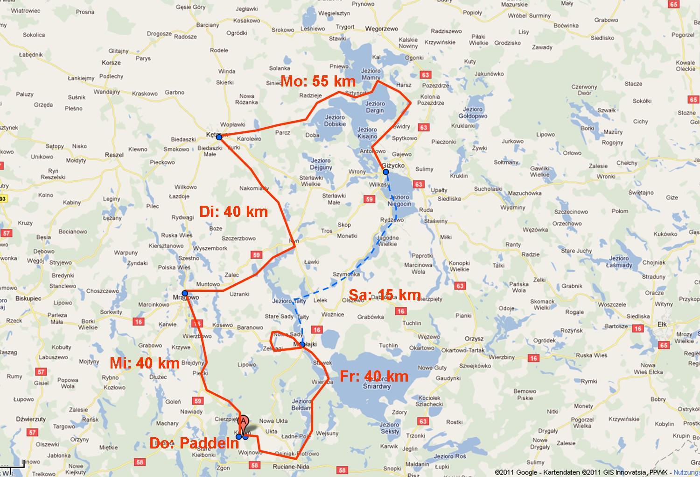 Radtour 2011 Masuren Karte 2